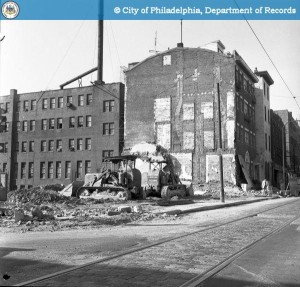 Demolition of the Greystone in 1971. Photo from PhillyHistory.org.